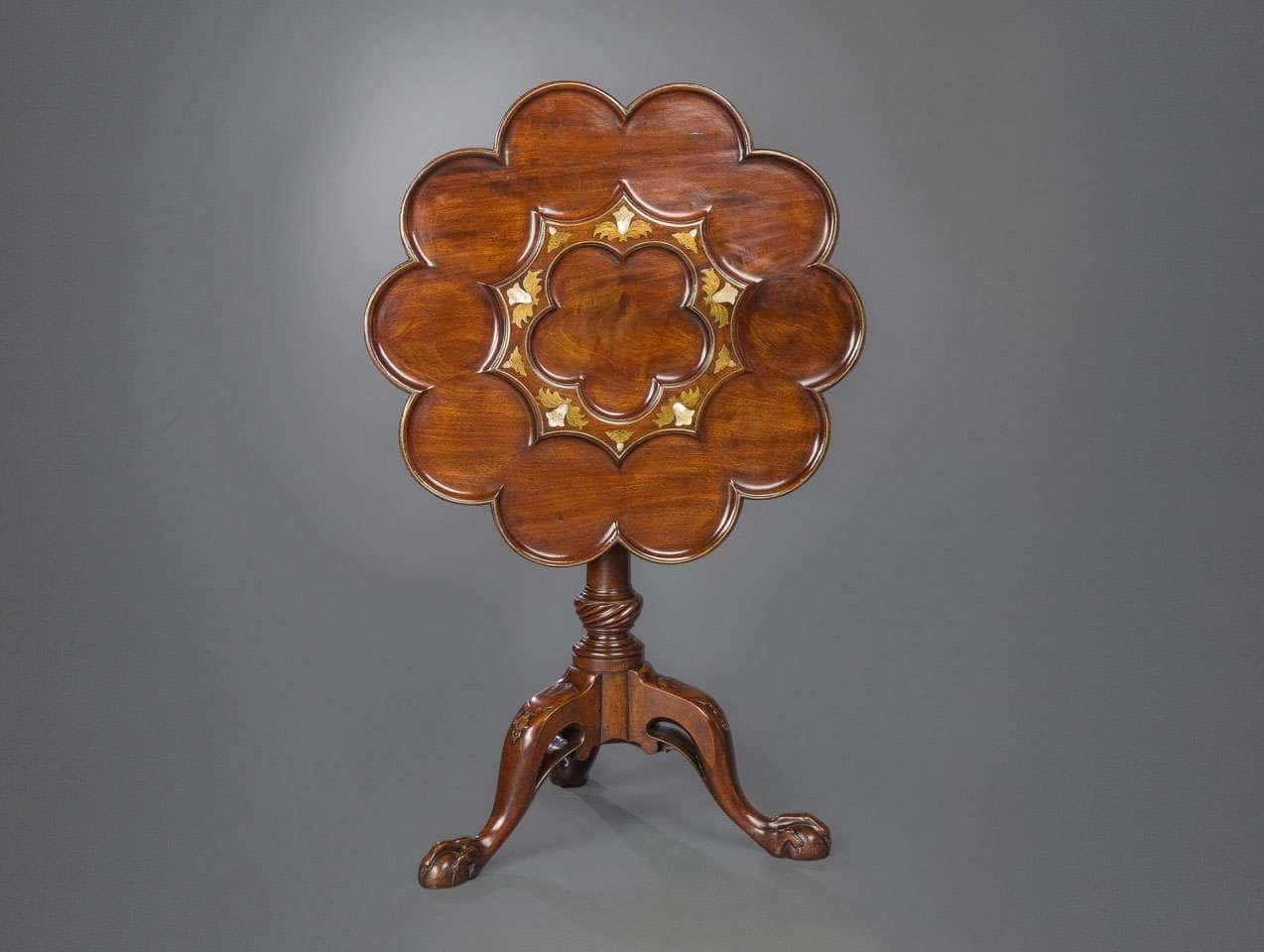 A Brass and Mother of Pearl Inlaid Supper Table attributed to Frederick Hintz circa 1745