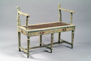A two-seater painted wood Neoclassical bench