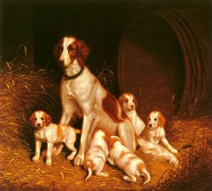 Thomas Hewes Hinckley (American, 1813-1896) Setter and Pups, 1843