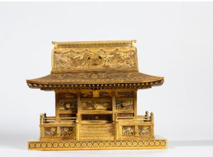 Japanese Inlaid Iron Cabinet Modeled As A Shrine