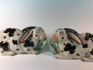 Pair Staffordshire Rabbits 10 inches C.1870