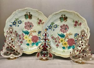 Pair of Chinese Export Porcelain Famille Rose silver shape chargers~1767~ with Dutch Arms of Temmick and Dane. Czech Rhinestone Crystal Trees, circa 1930's.